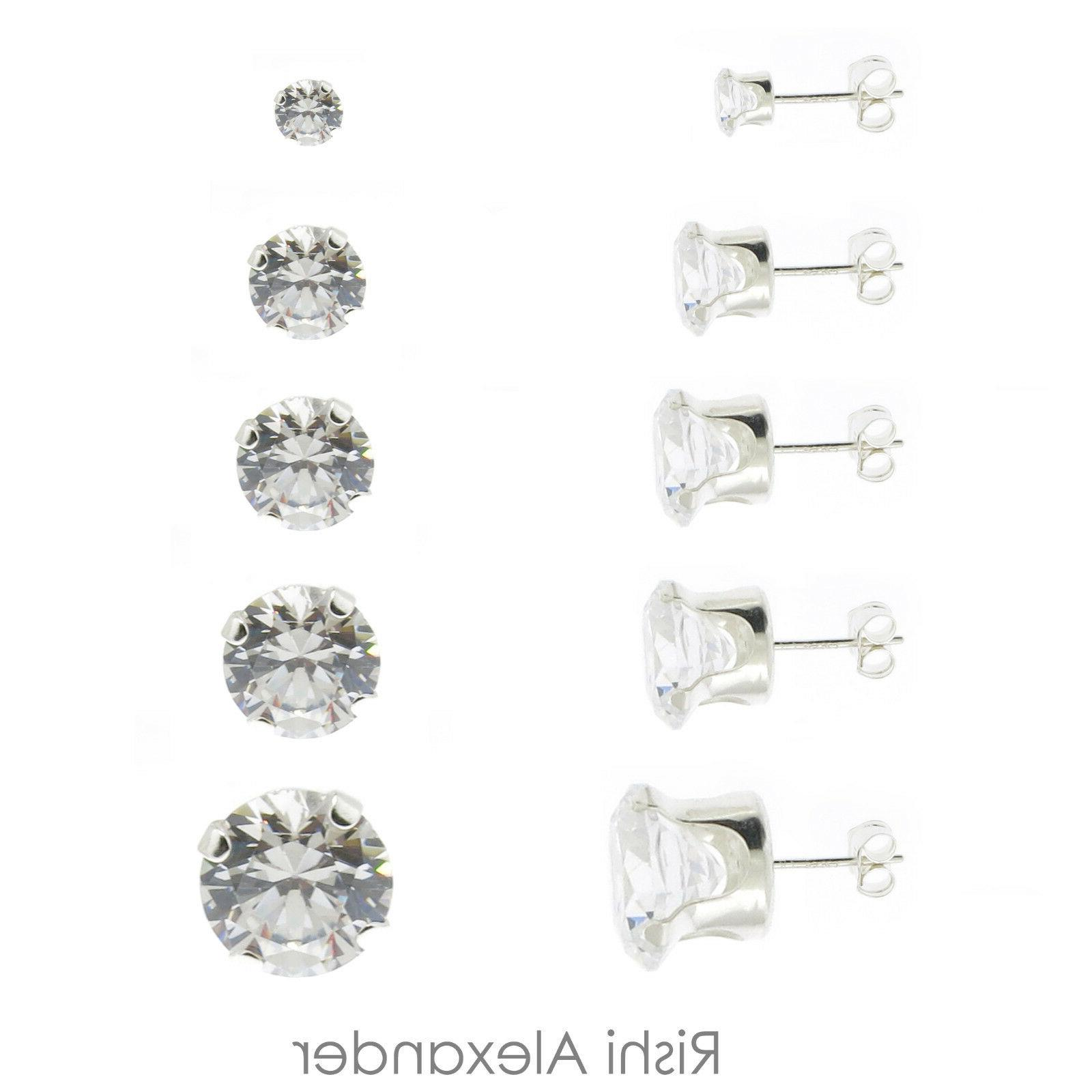 925 sterling silver round cubic zirconia clear