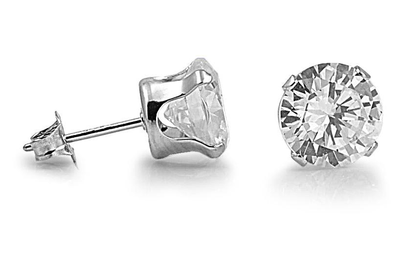 Silver Stud Cut Zirconia 925 Sterling Assorted