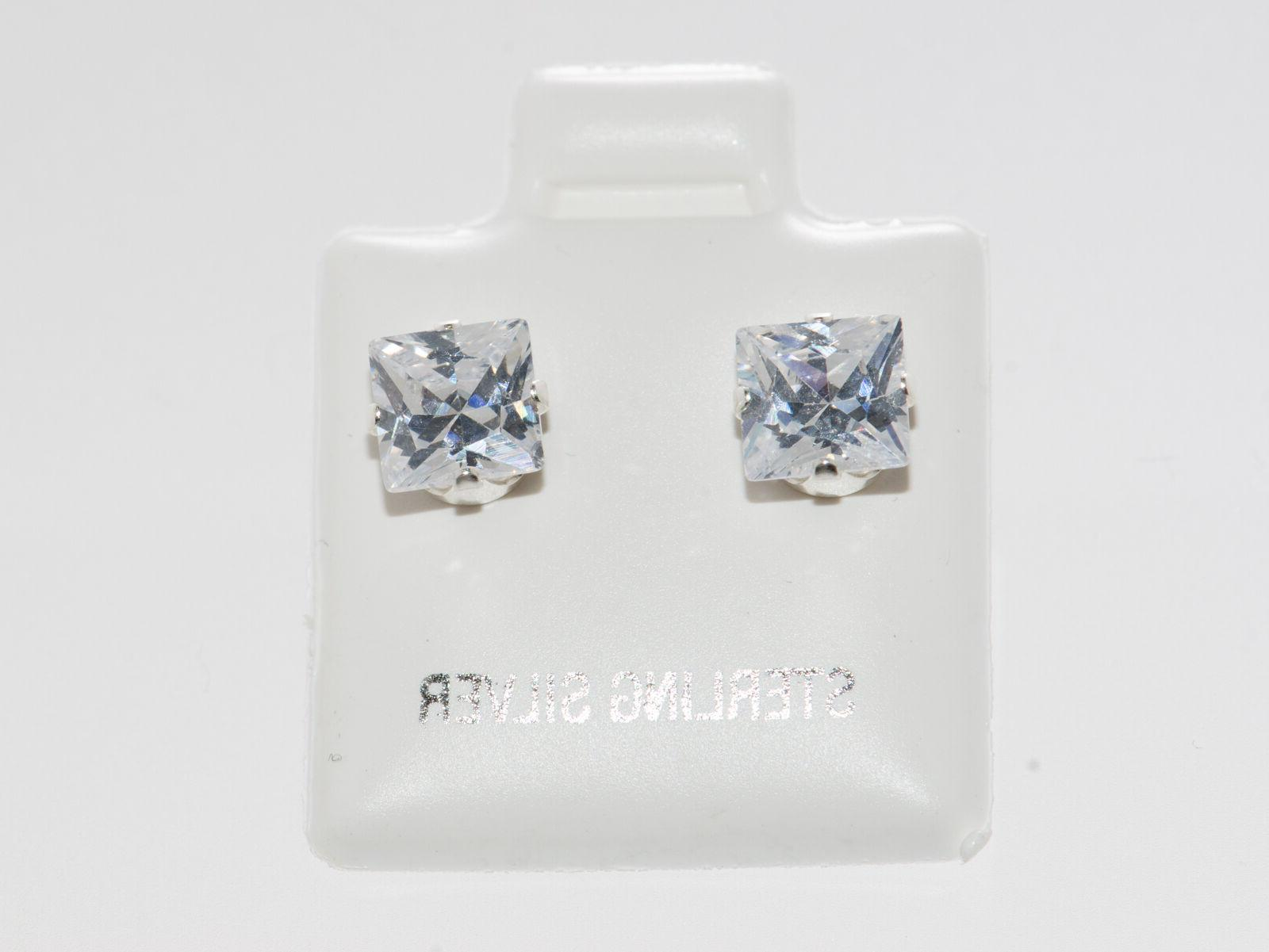 925 Sterling Silver Square Stud Earrings Clear CZ Cubic Zirc