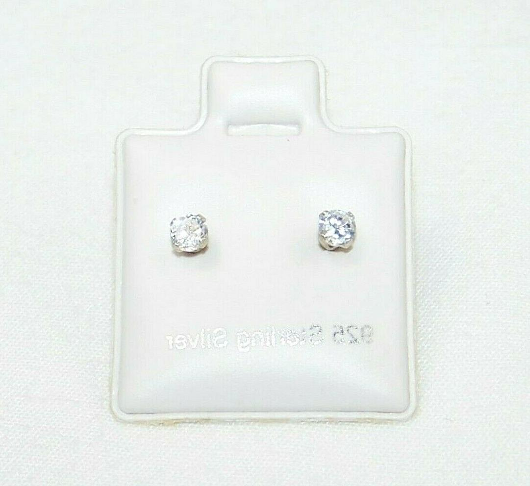 925 Sterling Earrings 3mm Clear CZ Cubic Zirconia Prong Set