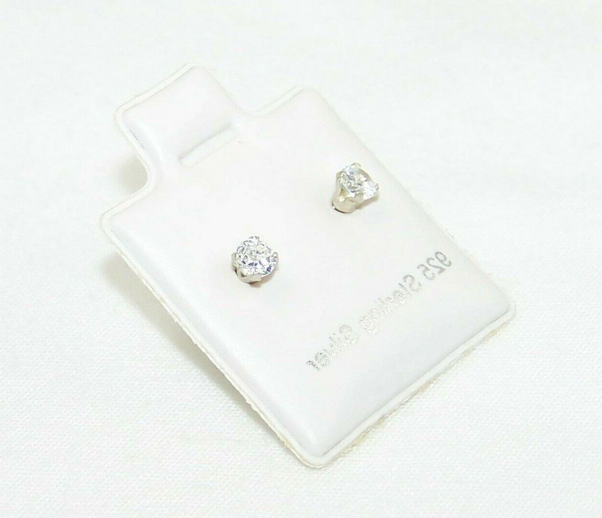 925 Sterling Earrings Round Clear CZ Cubic Set