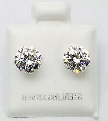 925 Sterling Silver,Stud Earrings With Man Made Diamond, 6 M