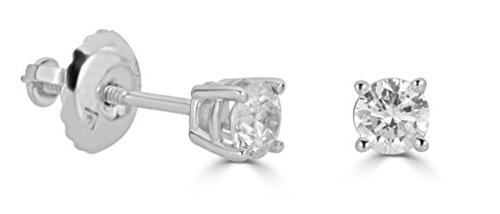 ags certified 14k white gold round cut