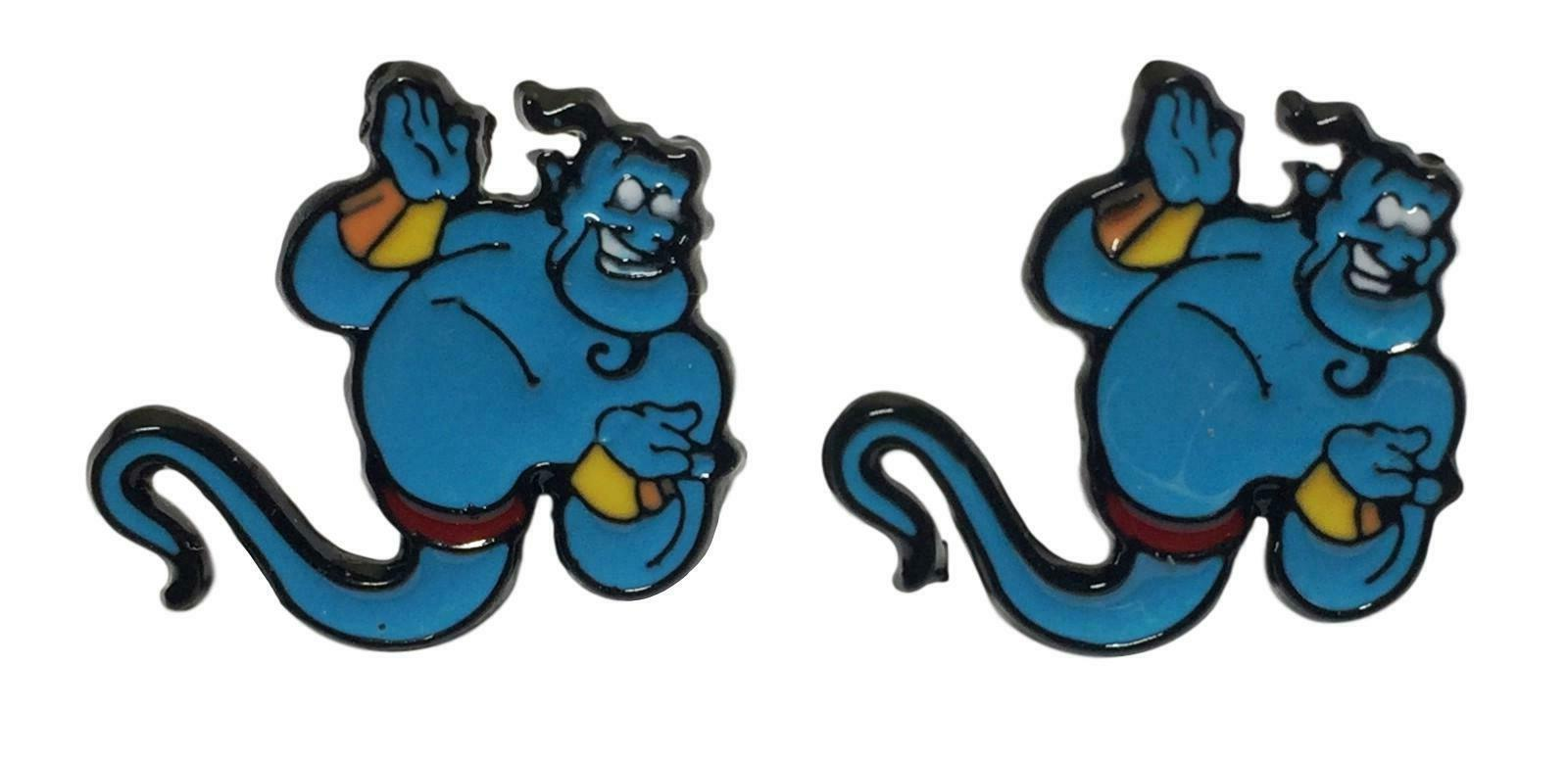 aladdin s genie enamel metal stud earrings