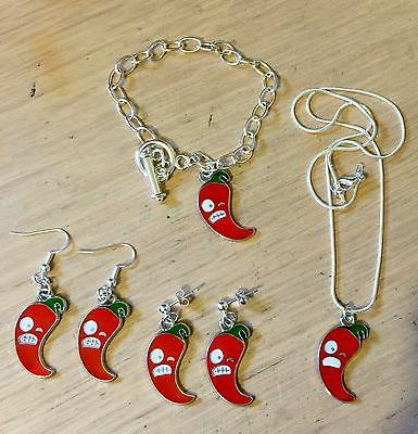 angry chilli pepper enamel earrings necklace bracelet