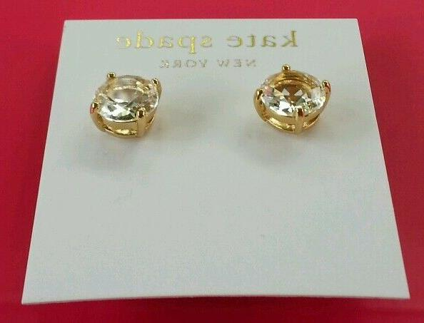 NEW Authentic Spade NY Gum Drop Earrings in CLEAR Gold Tone.