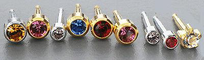Birthstone STERILE 24K GOLD over Surgical Steel Ear Piercing