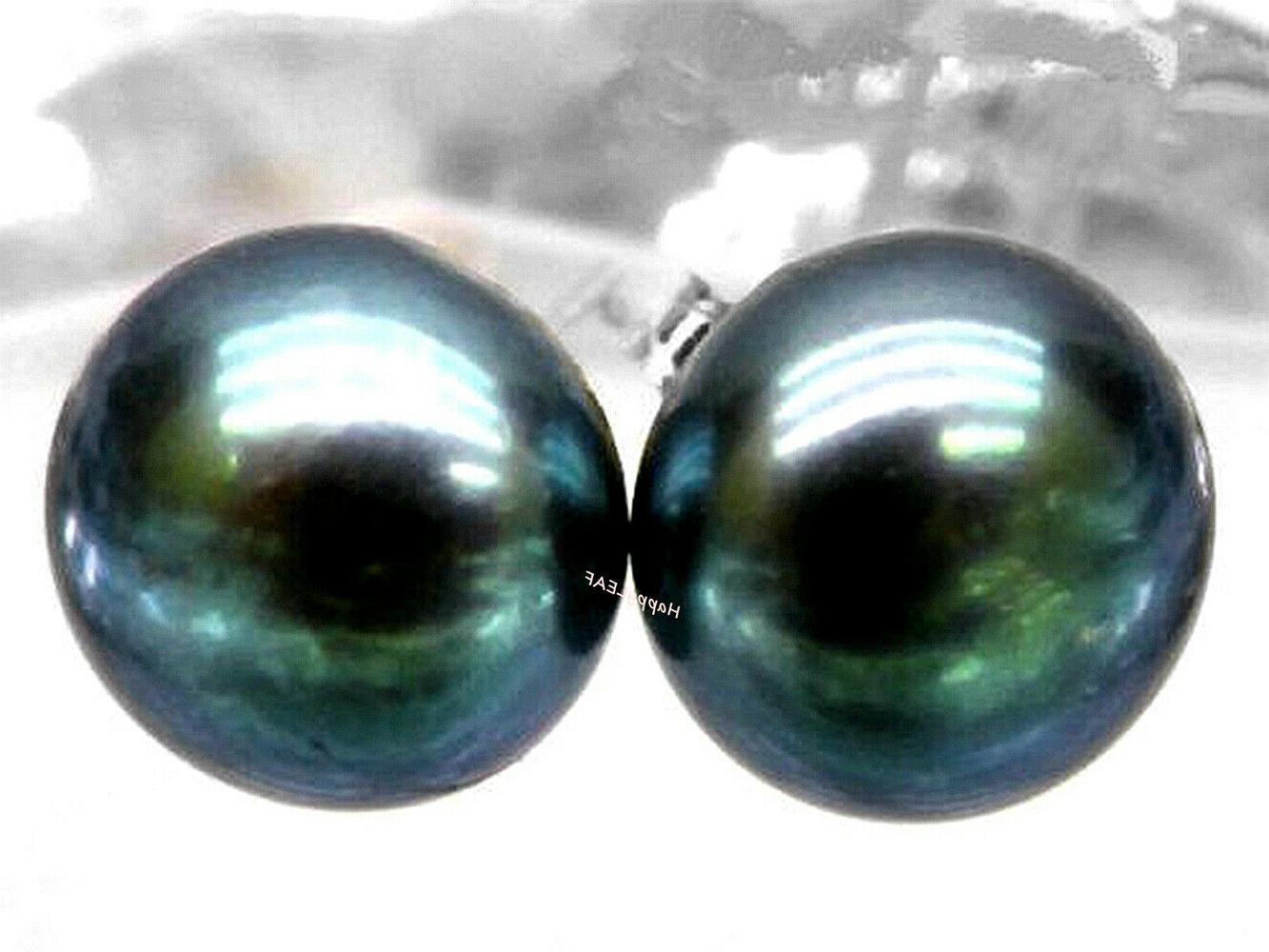 LILY TREACY Black Freshwater Pearl Stud Earring Sterling Sil