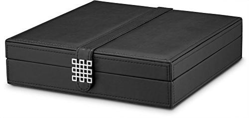 Glenor Earring Organizer - 25 Section Jewelry Box / / Holder Rings, or Collections. Compartments Elegant Large Mirror - Black