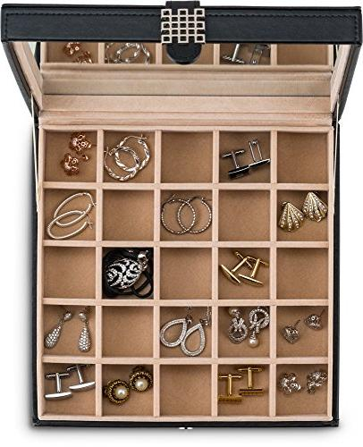Glenor Organizer - Classic Jewelry / Holder Rings, Jewelry, Cufflinks or Collections. Compartments Mirror Black