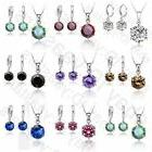 Cubic Zircon Cz Crystal Necklace Earrings Jewelry Set For Wo