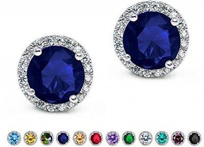 SWEETV Cubic Zirconia Stud Earrings, 10mm Round Cut, Rhinest