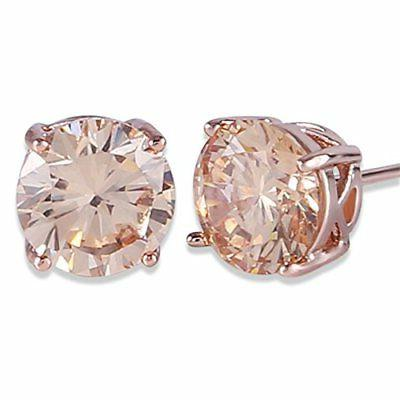 GULICX CZ Rose Gold Tone Brown Cubic Zirconia Stud Earrings