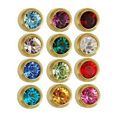 Caflon Ear Piercing Bezel Earrings Studs 3mm Assorted Colors