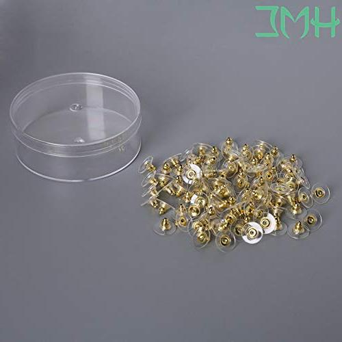 Laliva 100Pcs Findings Post Rhodium Gold Stopper DIY Jewelry