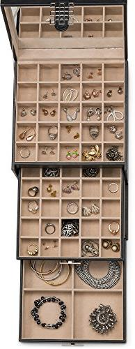 Glenor Co Organizer Holder - 50 & Classic Drawer & Closure, Mirror, 3 Ring or Storage - Leather