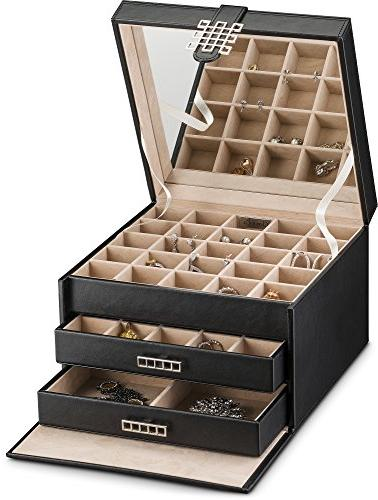 Glenor Co Earring Organizer Holder 50 Small Classic Box with Drawer & Mirror, 3 Trays Ring - Black