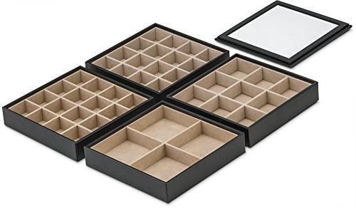 Glenor Co Tray - Stackable Trays Classic Jewelry Case Dresser - Holder Earring Ring Cufflinks - Large - Black