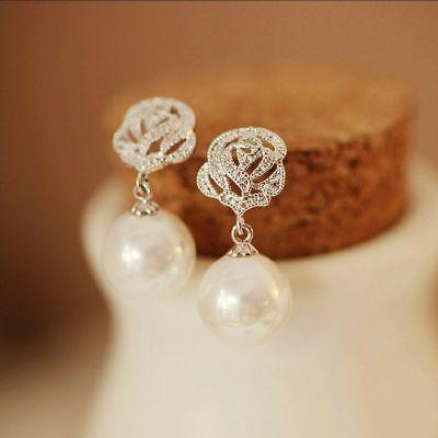 earrings luxury eardrop rose flower pearl ear