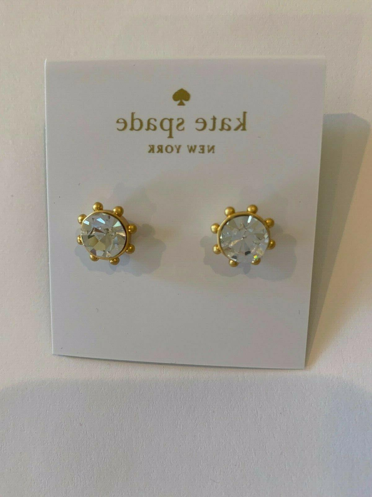 "kate new ""Flying Crystal Earrings, round,Clear,gold"