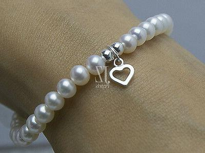 Freshwater Cultured Pearl with S/Silver Heart Charm & Stud