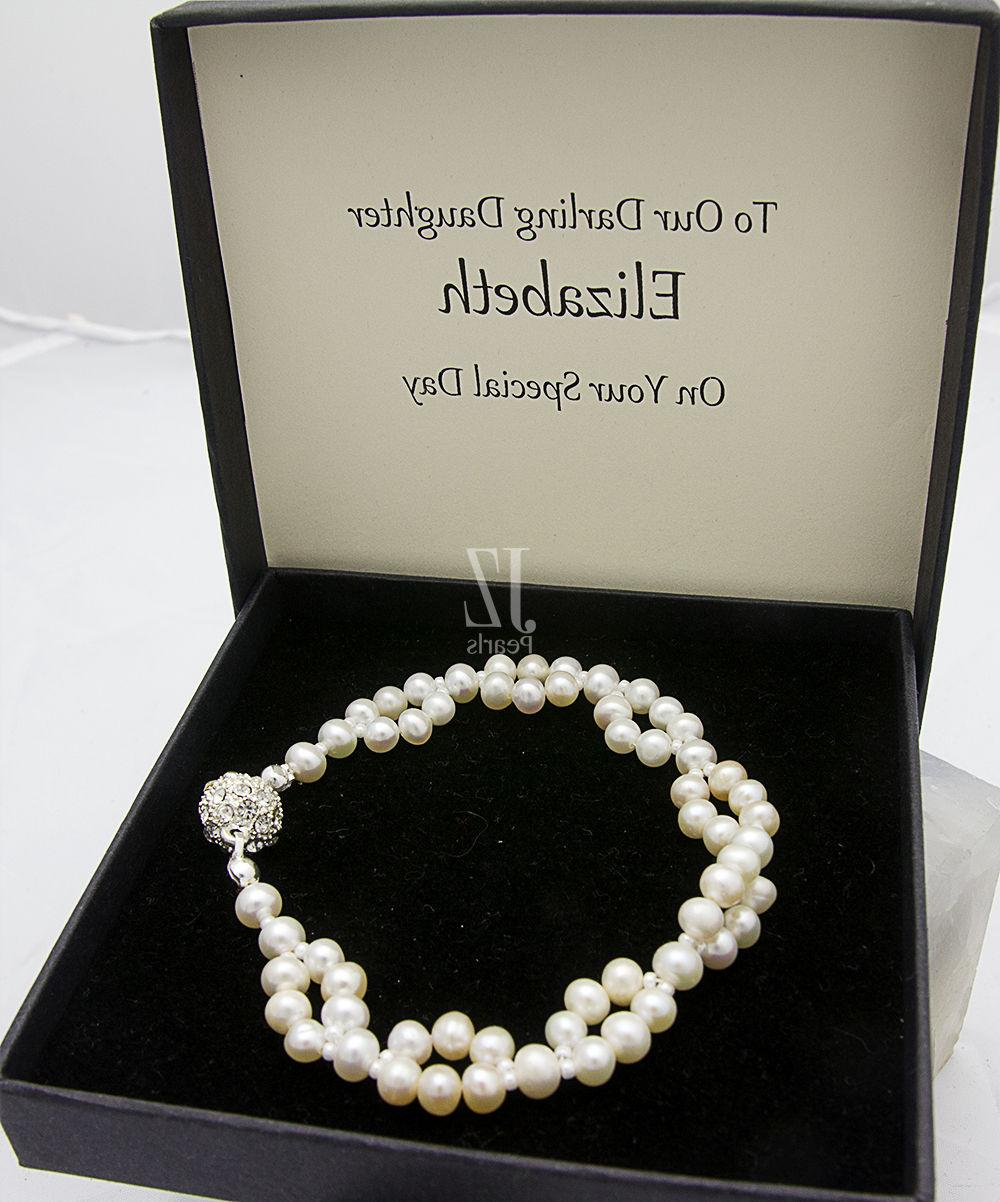 freshwater cultured pearl double bracelet with rhinestone