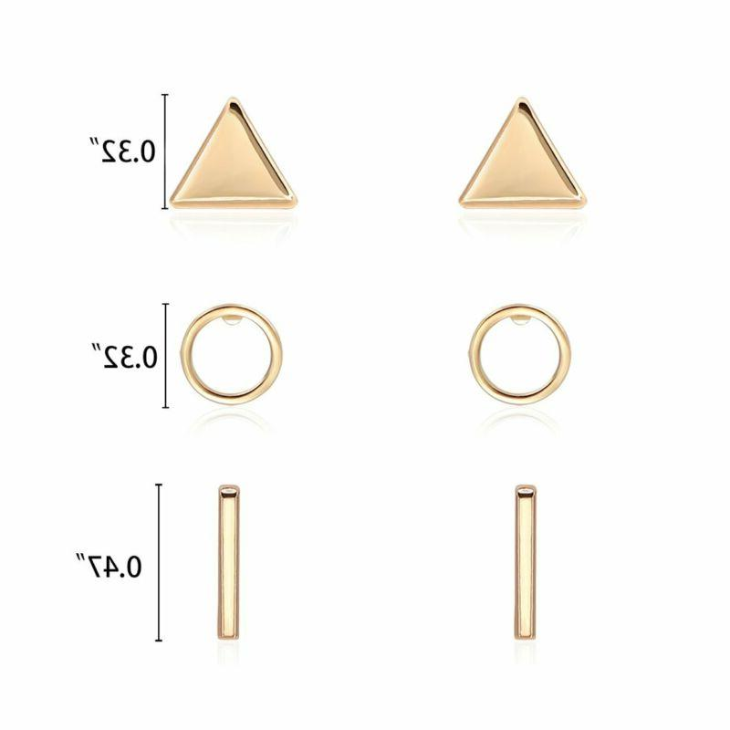 Zealmer Gold Stud Simple Bar Circel Triangle Earr