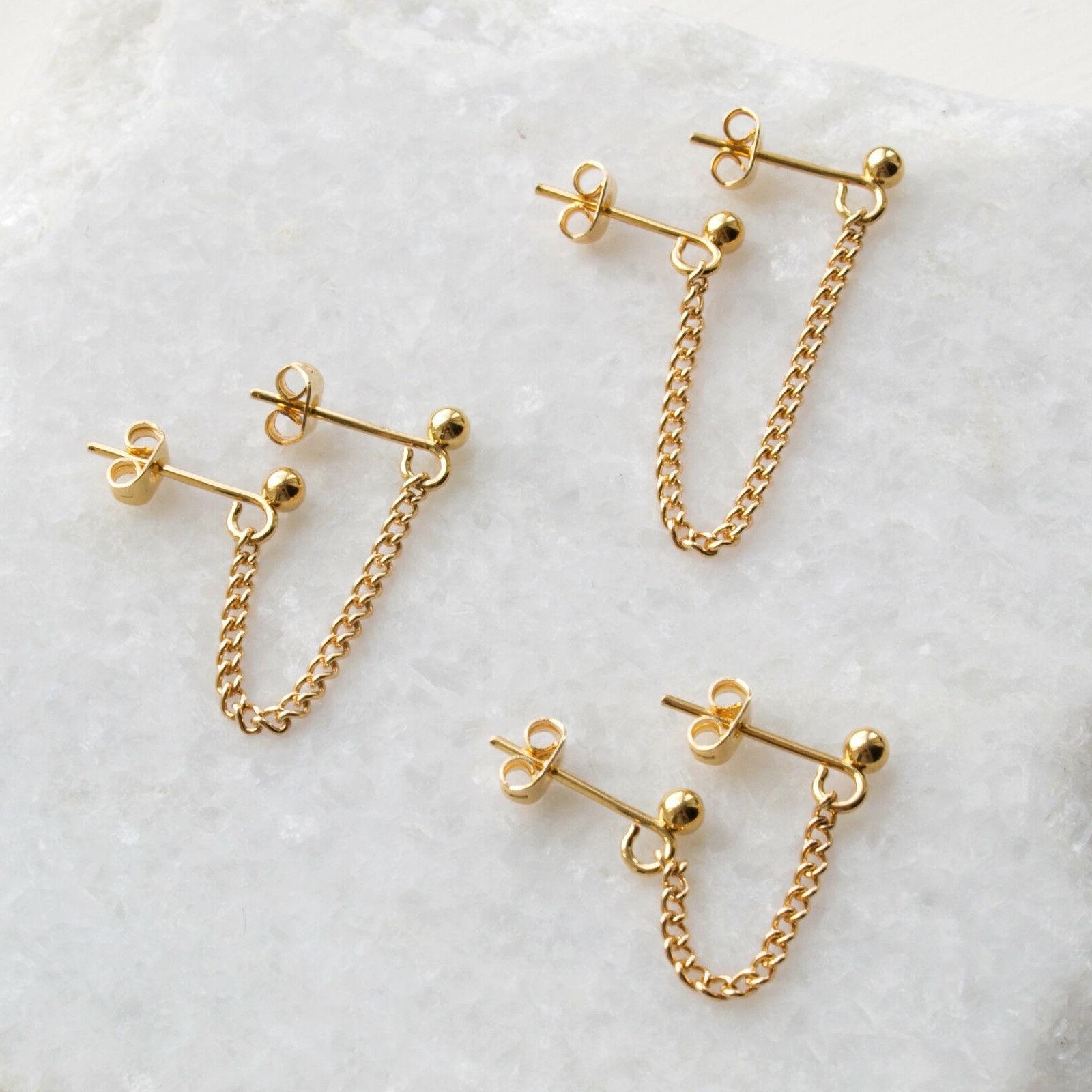 Gold Double Piercing Chain Stud Earring - Multiple Lobe Pier