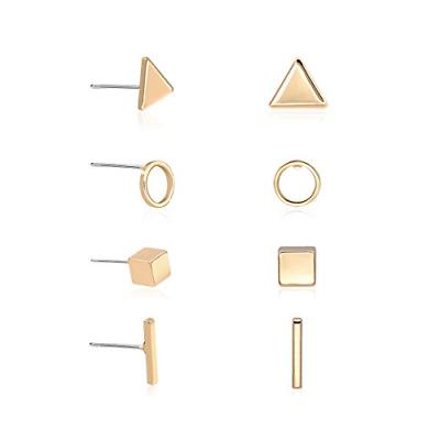 gold geometric earrings simple triangle bar square