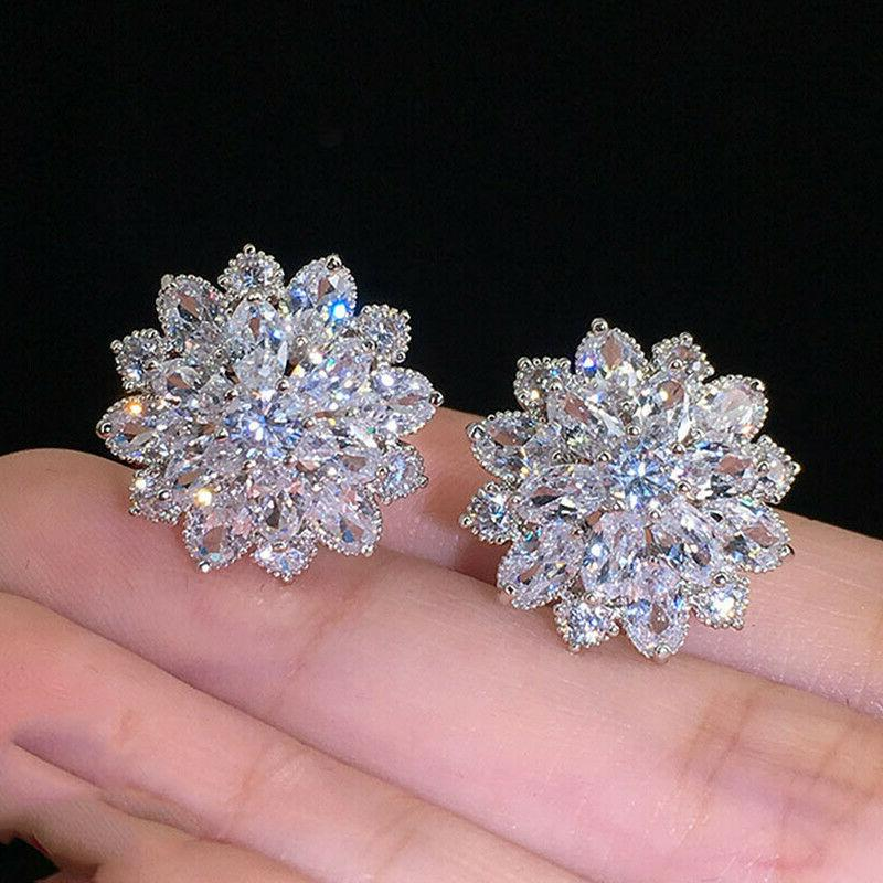 gorgeous stud earrings women 925 silver wedding