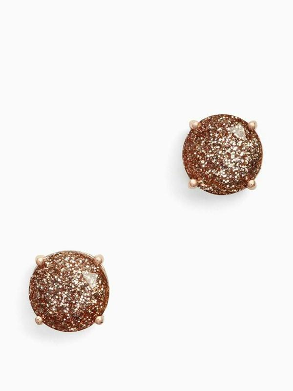 Kate Spade New York Rose Gold Glitter Stud Earrings O0Ru1624