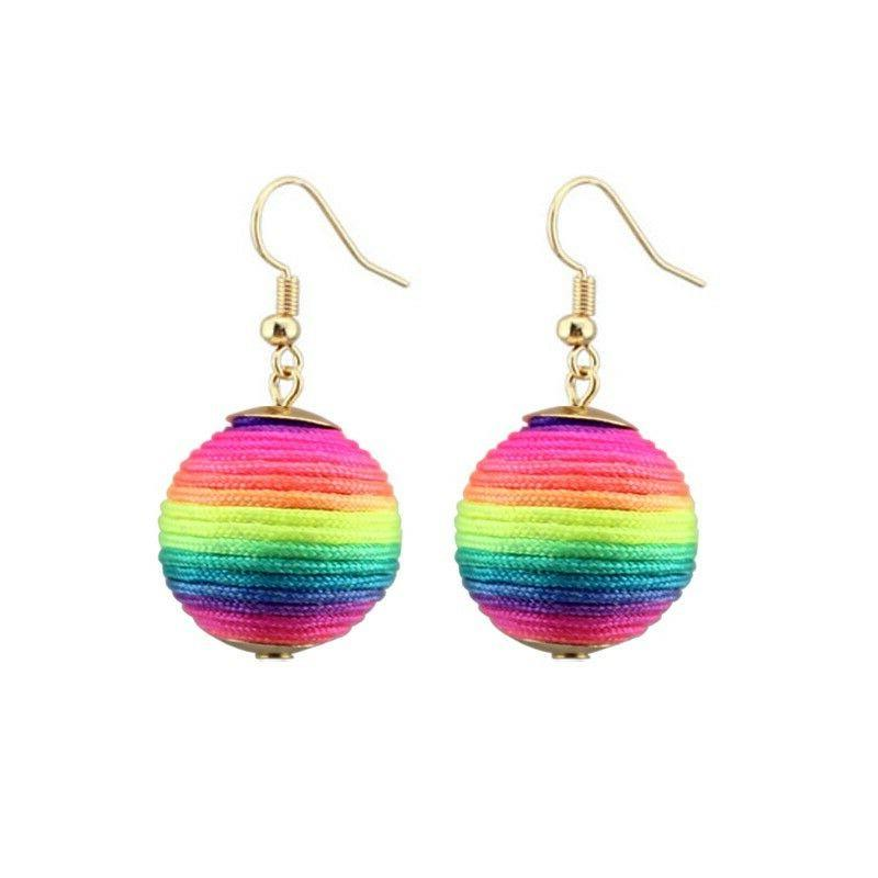 LGBT Rainbow Ball Bonbons Drop Earrings Next Day delivery