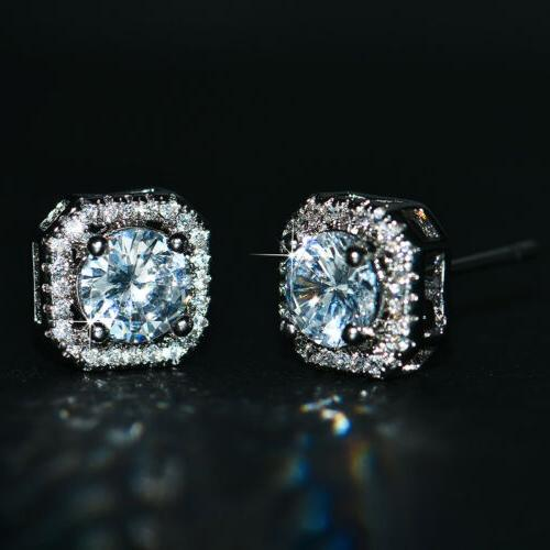 luxury round white sapphire square stud earrings