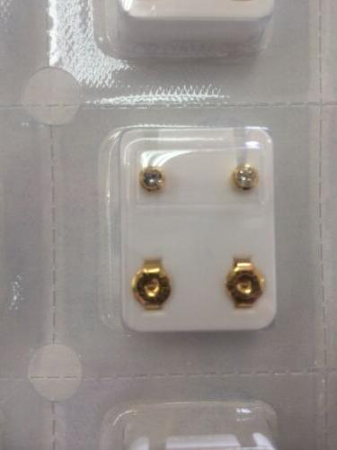 MINI Caflon Ear Piercing Gold Clear Stone Studs pairs April Birthstone