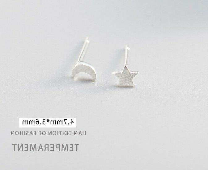 Moon Star Stud Solid 925 SILVER Brushed Studs Gift Box A3