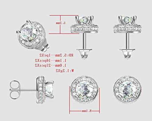 14k Round Halo Earrings- 7.5mm-3.50cttw Plated