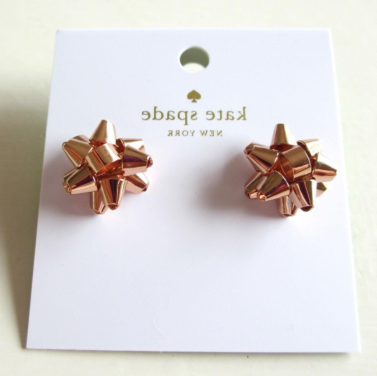 NEW Spade York Bourgeois Gift Stud Earrings Rose Tone W/