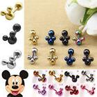 New Cool Disney Mickey Mouse Stainless Steel Ear Stud Men Wo