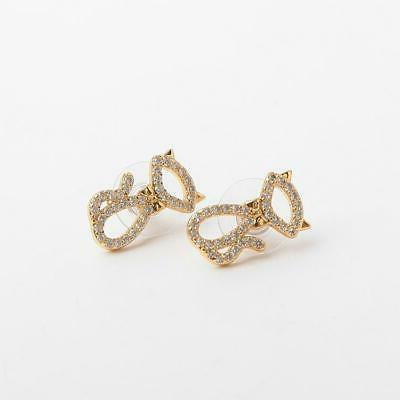 Gold-Tone and Black Cat Stud