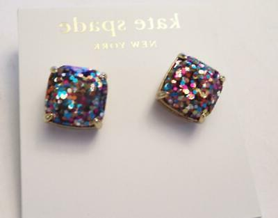 new york multi glitter small square stud