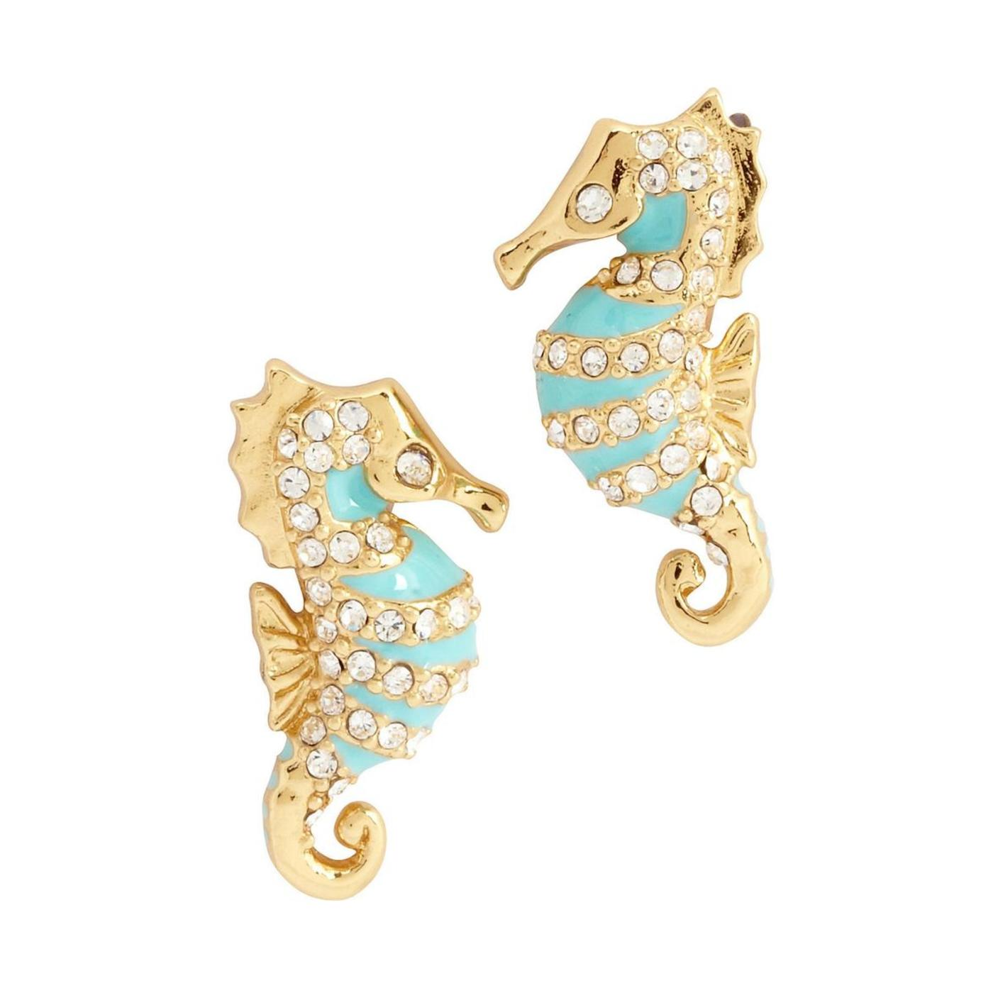 new york paradise found seahorse stud earrings