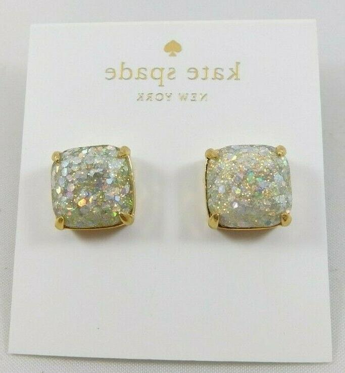 nwt gold plated opal glitter small square
