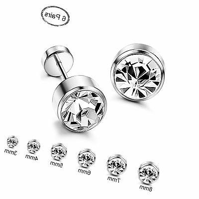 orazio 6 pairs stainless steel cz stud