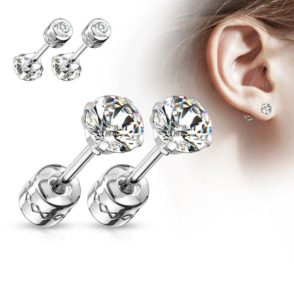 pair prong set cz gem stud earrings