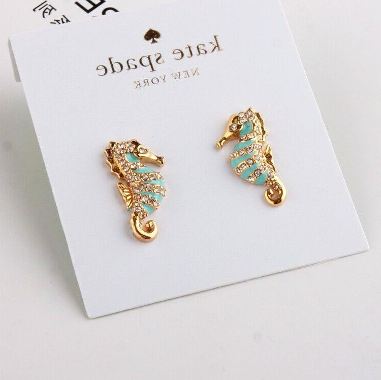 paradise found gold seahorse stud earrings new
