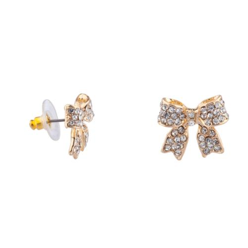 Lux Accessories Pave Crystal Simple Delecate Bow Stud Earrin