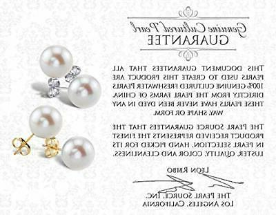 PEARL Gold 7-8mm Round Freshwater Cultured Earrings