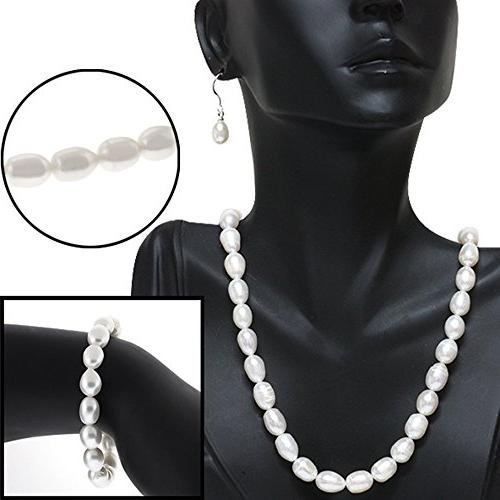 Gem Stone King Rhodium Plated 3pc White Pearl Necklace Earring Set