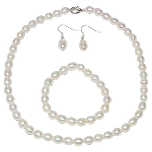rhodium plated 3pc cultured freshwater white pearl