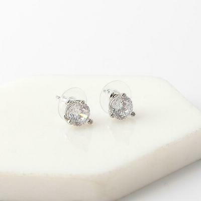 Kate Rise and Shine Stud Earrings White/Clear Silver